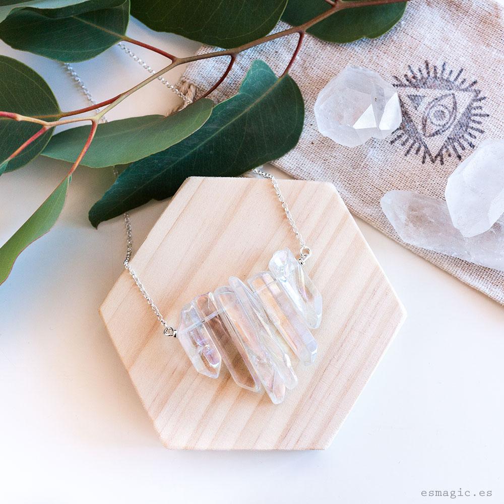 Colgante Plata Cuarzo Aqua Aura Esmagic Crystal Shop Tienda Online